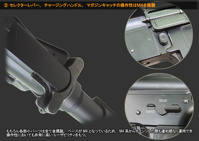 セレクターレバー、チャージングハンドル、マガジンキャッチの操作性はM4を踏襲 もちろん各部小パーツは全て金属製。ベースがM4となっているため、M4系からチェンジした際も違和感なく運用出来、操作性においても非常に高いユーザビリティをもつ。