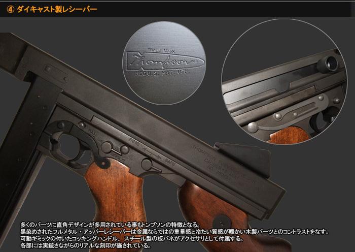ダイキャスト製レシーバー 多くのパーツに直角デザインが多用されている事もトンプソンの特徴となる。黒染めされたフルメタル・アッパーレシーバーは金属ならではの重量感と冷たい質感が暖かい木製パーツとのコントラストをなす。可動ギミックの付いたコッキングハンドル、スチール製の板バネがアクセサリとして付属する。各部には実銃さながらのリアルな刻印が施されている。