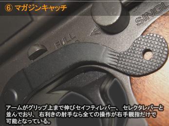 マガジンキャッチ アームがグリップ上まで伸びセイフティレバー、セレクタレバーと並んでおり、右利きの射手なら全ての操作が右手親指だけで可能となっている。