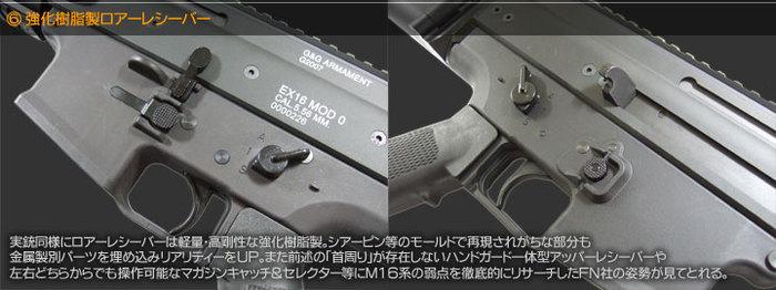 強化樹脂製ロアーレシーバー 実銃同様にロアレシーバーは軽量・高剛性な強化樹脂製。シアーピン等のモールドで再現されがちな部分も金属製別パーツを埋め込みリアリティをUP。また前述の「首周り」が存在しないハンドガード一体型アッパーレシーバーや左右どちらからでも操作可能なマガジンキャッチ&セレクター等にM16系の弱点を徹底的にリサーチしたFN社の姿勢が見て取れる。