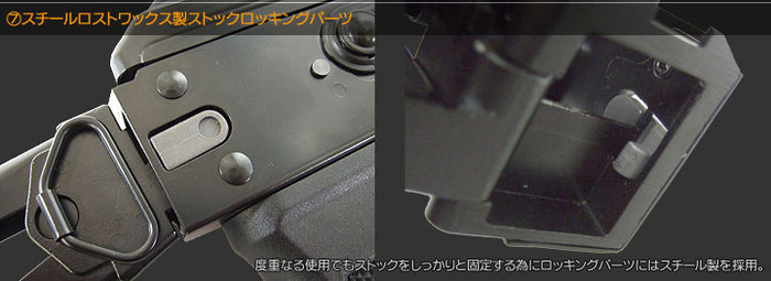 スチールロストワックス製ストックロッキングパーツ 度重なる使用でもストックをしっかりと固定する為にロッキングパーツにはスチール製を採用。