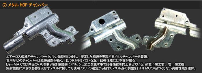 メタルHOpチャンバー エアーロス低減やチャンバーパッキン保持性に優れ、安定した初速を実現するメタルチャンバーを装備。専用形状のチャンバーは給弾通路が長く、且つRが付いている為、給弾性能には不安が残る。Be-MAXでは内面のバリを取り除き徹底的にポリッシュ加工を施す事で給弾性能を向上させている。※左;加工前、右;加工後 実射性能に大きな影響を及ぼすノズルに関しても使用ノズルの選定から始まりノズル長の調整を行いFMCの名に恥じない実射性能を確保。