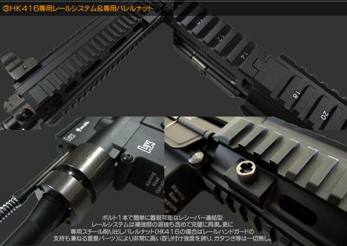 HK416専用レールシステム&専用バレルナット ボルト1本で簡単に着脱可能なレシーバー連結型レールシステムは補強部の溶接も含めて完璧に再現。更に専用スチール削り出しバレルナット(HK416の場合はレールハンドガードの支持も兼ねる重要パーツ)により非常に高い取り付け強度を誇り、ガタつき等は一切なし。