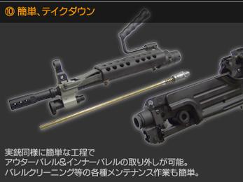 簡単、テイクダウン 実銃同様に簡単な工程でアウターバレル&インナーバレルの取り外しが可能。バレルクリーニング等の各種メンテナンス作業も簡単。