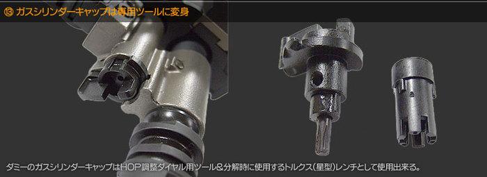 ガスシリンダーキャップは専用ツールに変身 ダミーのガスシリンダーキャップはHOP調整ダイヤル用ツール&分解時に使用するとるクス(星型)レンチとして使用できる。